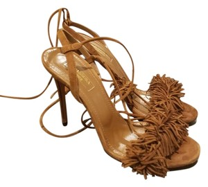 Aquazzura Fringe Tie Back brown suede Sandals