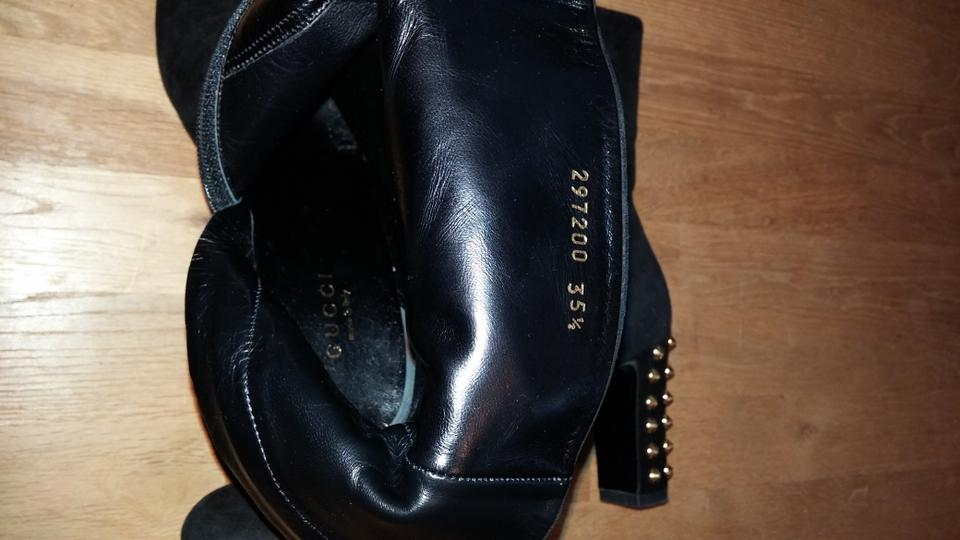 bd5abaa8bb9 Gucci Black Jacqulyne Suede Gold Studded Ankle 35.5 Euc Boots ...
