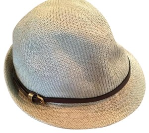 Burberry Authentic Soft Burberry Summer Fedora Hat Leather Accent