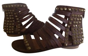 Jeffrey Campbell Gladiator Studded Back Zip Brown Leather Sandals