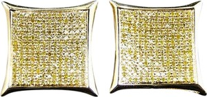 Jewelry Unlimited Mens,Ladies,10k,Yellow,Gold,Canary,Diamond,Kite,Pave,Shape,Stud,Earrings,19,Mm