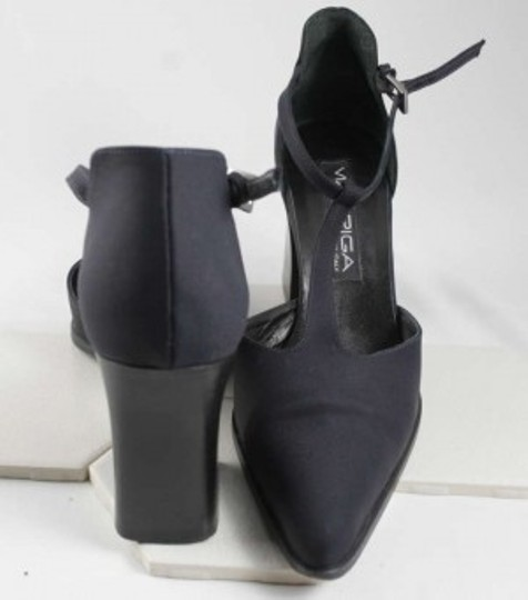 Via Spiga T Strap Fabric Stacked Heels Made In Italy Size 8 Dark Navy Blue Pumps