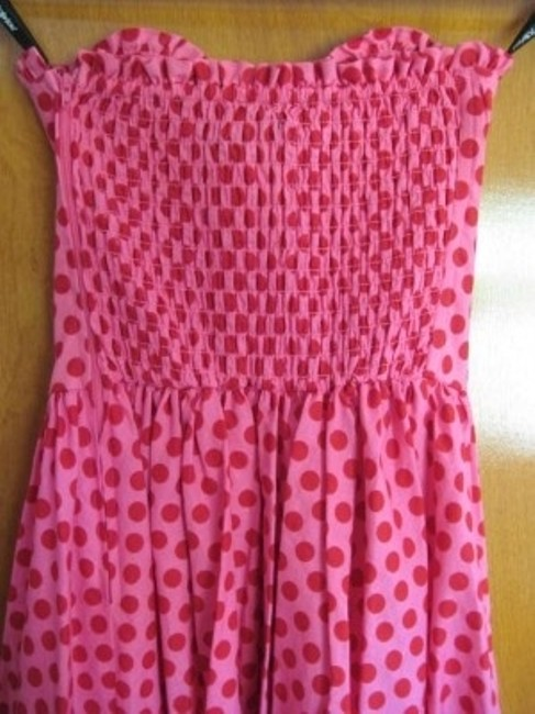 Betsey Johnson short dress Pink with Red Polka Dots Corset Bustier A-line Summer Sweetheart on Tradesy