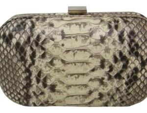 Bottega Veneta Snakeskin Bv Black/Brown/White/Tan Clutch