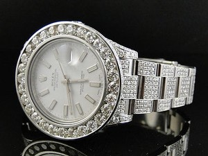 Rolex Iced Out Mens Rolex Date Just Ii Flooded With Genuine Diamonds Mm