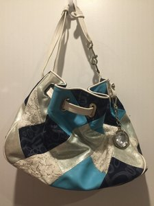 bebe Patchwork Lace Logo Tote in blue, white