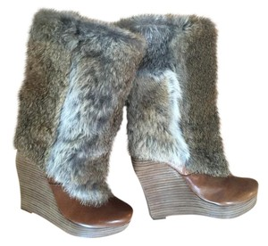 Dolce Vita Leather Fur Fall Winter Chic Natural Boots