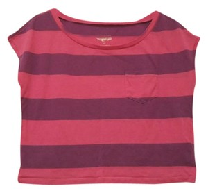 American Eagle Outfitters Striped Two-tone Cotton T Shirt magenta