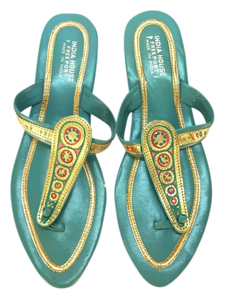 Teal Sandals and Gold Vintage Indian Sandals Teal facacf