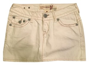 Laguna Beach Jean Company Denim Mini Skirt White denim