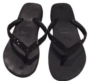Swarovski Elements Black Sandals