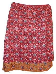 Esprit Mixed Print Floral Double-layer A-line Pencil Skirt Multi-Color