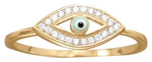 New Arrival Sterling Collections New 14 Karat Gold Plated CZ Evil Eye Ring