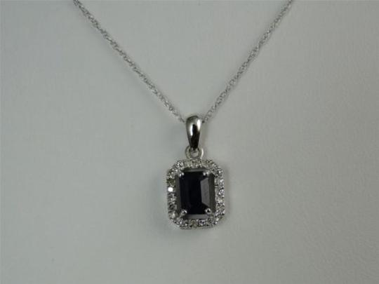 Jewelry Unlimited Womens,Ladies,14,K,White,Gold,Sapphire,Genuine,Diamond,Pendant,Charm,With,Chain