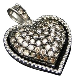 10k,Ladies,White,Gold,Brown,Cognac,Diamond,Pave,Heart,Love,Pendant,Charm,12,Ct