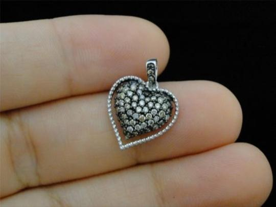 Other 10k,Ladies,White,Gold,Brown,Cognac,Diamond,Pave,Heart,Love,Pendant,Charm,12,Ct