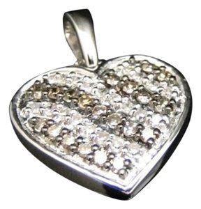 10k,Ladies,White,Gold,Brown,Cognac,Diamond,Pave,Heart,Love,Pendant,Charm,14,Ct