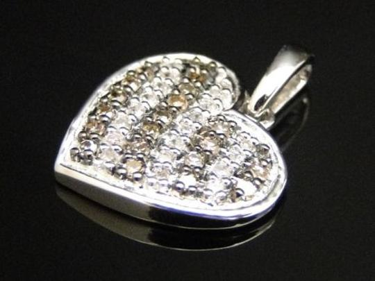 Other 10k,Ladies,White,Gold,Brown,Cognac,Diamond,Pave,Heart,Love,Pendant,Charm,14,Ct