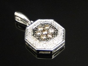 10k,White,Gold,Ladies,Browncognacwhite,Diamond,Hexagon,Pendant,Charm,14,Ct