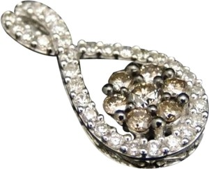 Other 10k,White,Gold,Ladies,Browncognacwhite,Diamond,Round,Drop,Pendant,Charm,.40,Ct