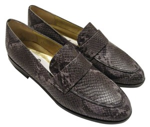 Saks Fifth Avenue Italian Loafers Leather Gray Flats