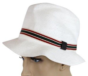 Gucci New Gucci White Straw Fedora Hat w/GRG Web Size M 309141 9599
