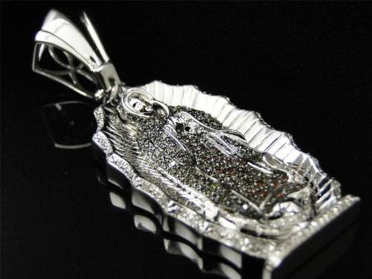 Other Mens,Ladies,White,Lady,Of,Guadalupe,Diamond,Mother,Mary,Pendant,Charm,1.0,Ct