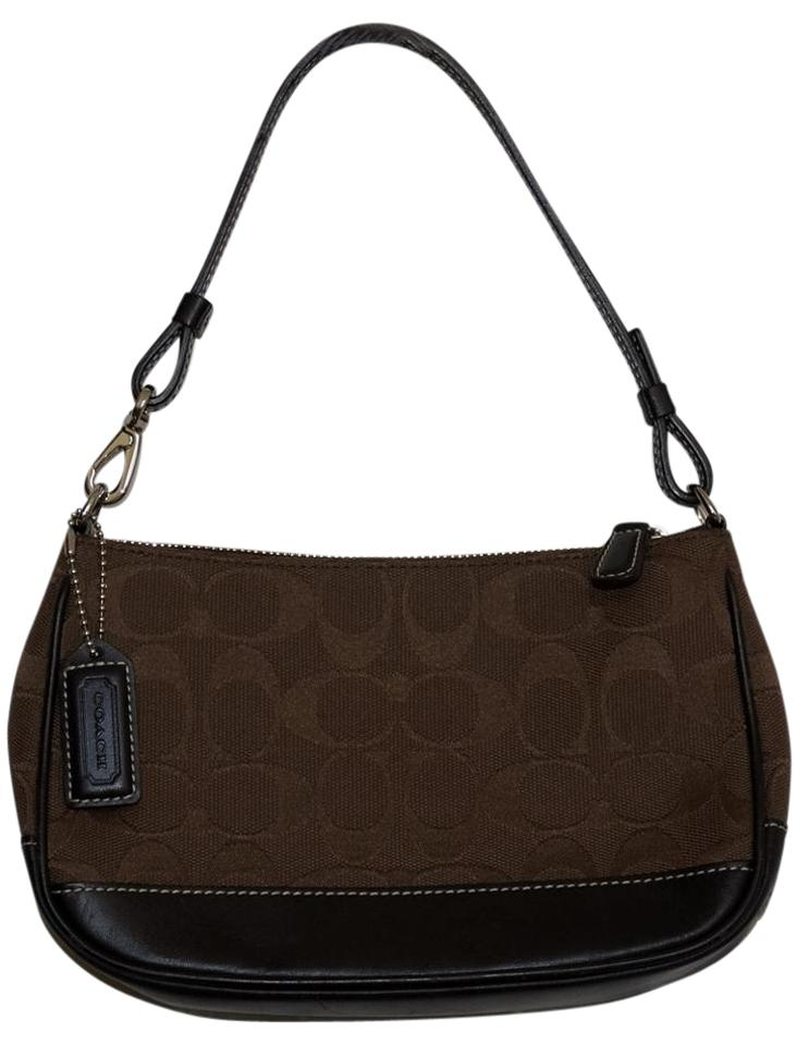 e77fc30a3e Coach  c  Monogram Demi Purse Wristlet Brown Signature Jacquard with ...