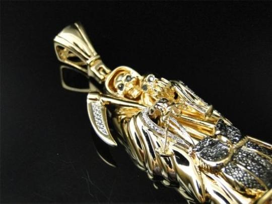 Other Yellow,Gold,Finish,Death,Grim,Reaper,Diamond,Owl,Black,Pendant,Charm,.60,Ct