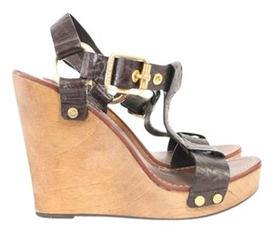 Tory Burch Leather Wedge Wood Brown Sandals