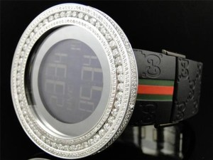 Gucci Custom 53 Mm Case Digital Black I Gucci Ya114207 Genuine Diamond Watch 13.5 Ct