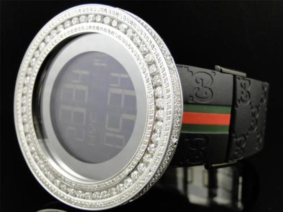 d25081a6490 Gucci Custom 53 Mm Case Digital Black I Gucci Ya114207 Genuine Diamond Watch  13.5 Ct Image ...