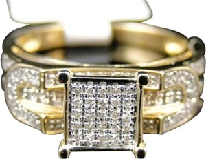 Ladies,10k,Yellow,Gold,Pave,Diamond,Engagement,Wedding,Bridal,Fashion,Ring,.31ct