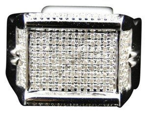 Mens,10k,White,Gold,Round,Cut,Diamond,Pave,Xl,Designer,Pinky,Band,Ring,.86,Ct