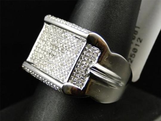 Other Mens,10k,White,Gold,Round,Cut,Diamond,Pave,Xl,Designer,Pinky,Band,Ring,.86,Ct
