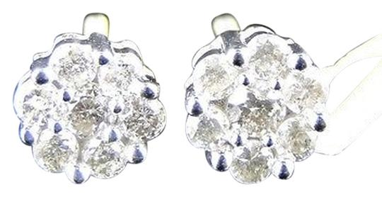 Other 14k,Mens,Ladies,White,Gold,6,Mm,Genuine,Diamond,Cluster,Stud,Earrings,12,Ct