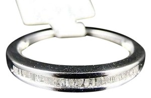 One,Row,.925,Silver,White,Gold,Finish,Baguette,Diamond,Wedding,Band,14,Ct,