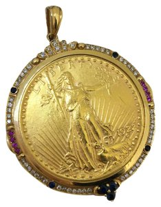 Pure Gold Coin 18K Yellow Gold Sapphire Diamonds Pendant