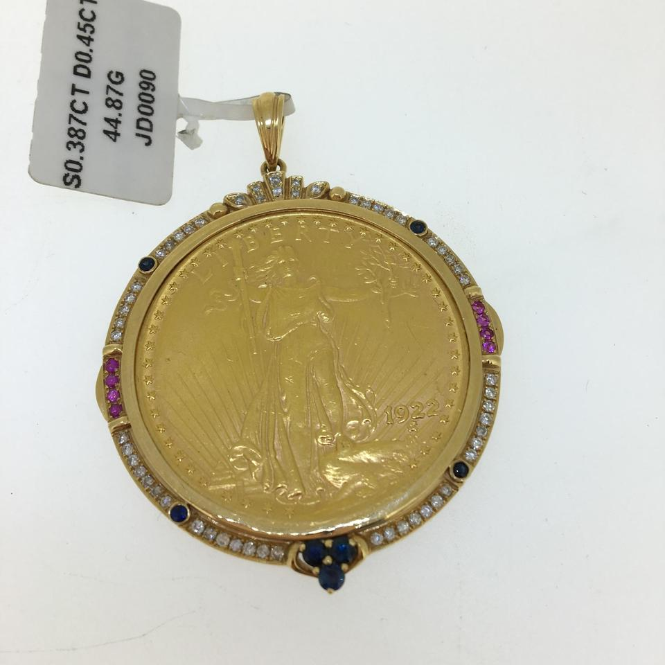 diamond gold yellow overstock sapphire pendant watches com product multi shipping tone today jewelry x free necklace