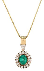 18K Yellow Gold Diamonds Emerald Necklace