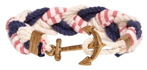 Kiel James Patrick Navy White And Red Stripe Braided Bracelet