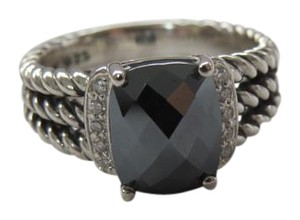 David Yurman Petite Wheaton Hematine and Diamond Ring, Size 7.5