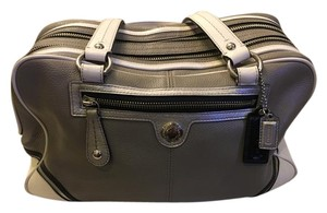Coach Leather Metallic Neutral Satchel in Black grey and white