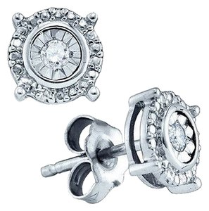 Jewelry Unlimited Mens,Ladies,White,Gold,Finish,Genuine,Round,Diamond,4,Prong,Studs,Earrings