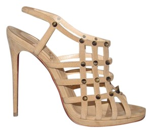 Christian Louboutin Caged Booties Sandals Beige Pumps