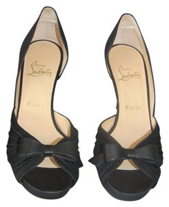 Christian Louboutin Peep Toe Bow Low Heel Evening Dorsay Black Pumps