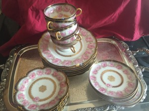 Antique Rare Haviland Limoges Porcelain Presidential Drop Rose 23 Pieces