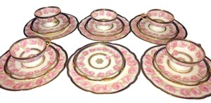 Set Of 23 Pcs Haviland Limoges Presidential Drop Rose Porcelain Dinner