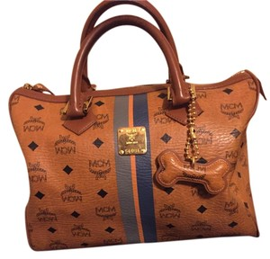 MCM Monogram Handbag Satchel in Cognac Visetos