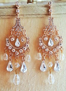Rose Gold Bridal Chandelier Earrings Pierced